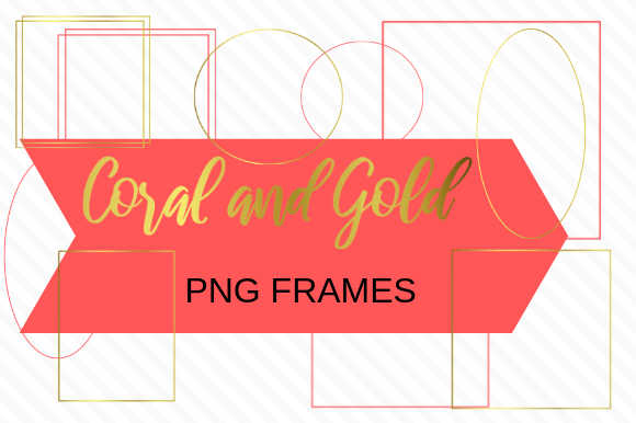 Print on Demand: Coral and Gold Frames Pack Graphic Illustrations By jpjournalsandbooks