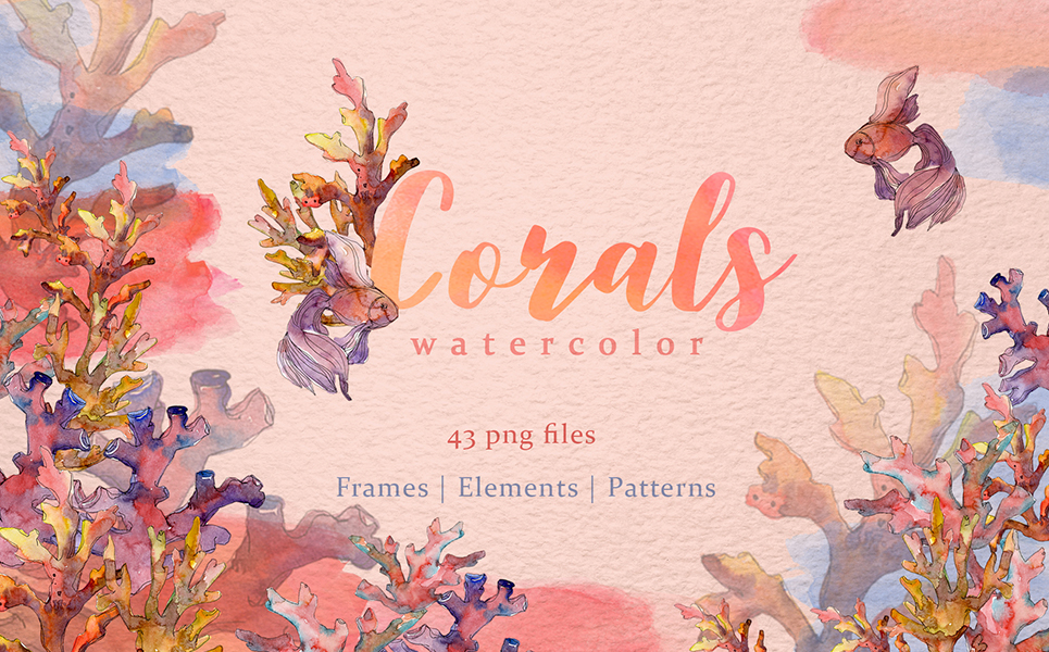 Download Free Corals Watercolor Graphic By Mystocks Creative Fabrica for Cricut Explore, Silhouette and other cutting machines.