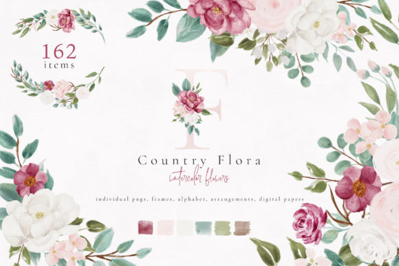 Country Flora Watercolor Flowers Graphic Illustrations By Sunny Blossom Designs