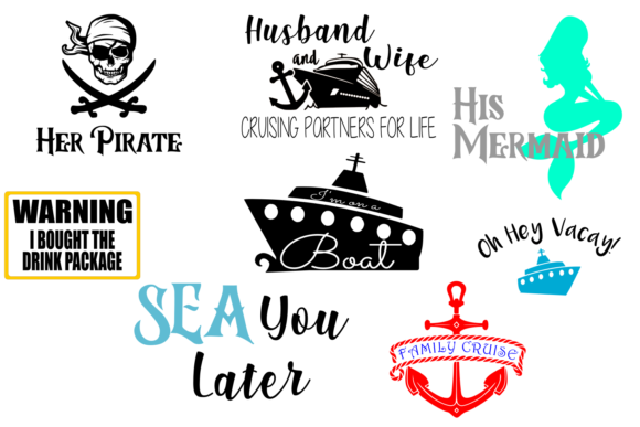 Print on Demand: Cruise Vacation Bundle Graphic Crafts By Auntie Inappropriate Designs
