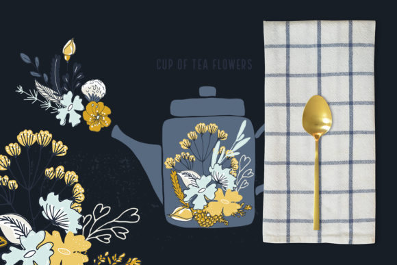 Cup of Tea Flowers Graphic Illustrations By webvilla - Image 2