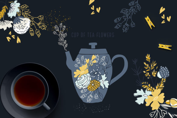 Cup of Tea Flowers Graphic Illustrations By webvilla - Image 3