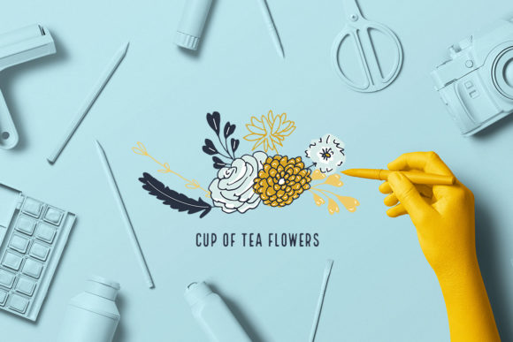 Cup of Tea Flowers Graphic Illustrations By webvilla - Image 4