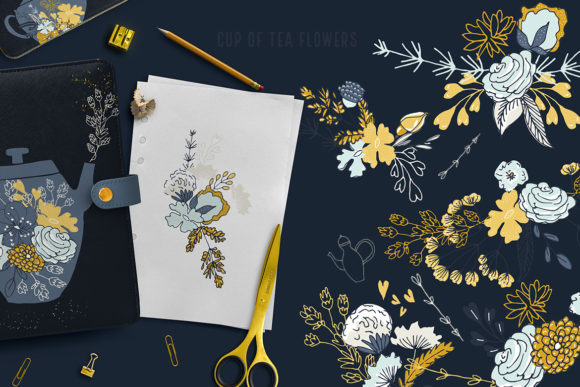 Cup of Tea Flowers Graphic Illustrations By webvilla - Image 5