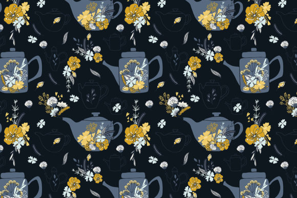 Cup of Tea Flowers Graphic Illustrations By webvilla - Image 6