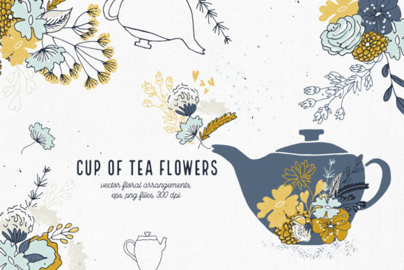 Print on Demand: Cup of Tea Flowers Graphic Illustrations By webvilla