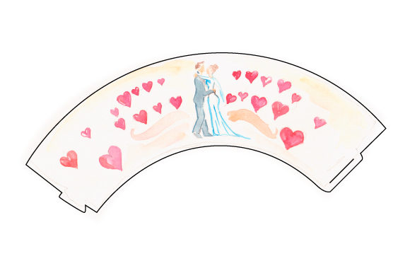 Cupcake Wrapper Template With Watercolored Bride And Groom Dancing