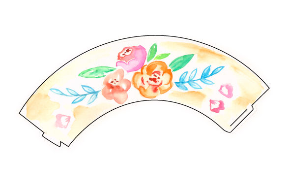 Cupcake Wrapper Template With Watercolored Flowers Svg Cut File