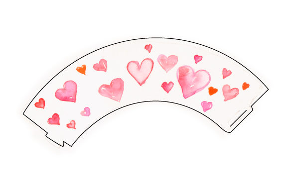 Cupcake Wrapper Template With Watercolored Hearts In Pink And Red