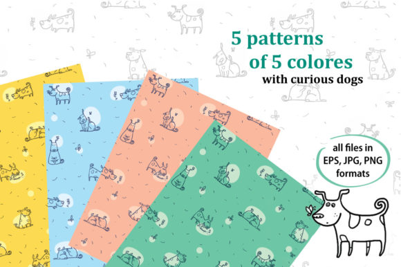 Print on Demand: Curious Dog Collection Graphic Patterns By Zooza Art - Image 2
