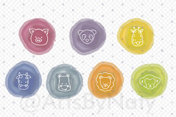 Print on Demand: Cute Animals Icons Illustration Graphic Illustrations By artsbynaty