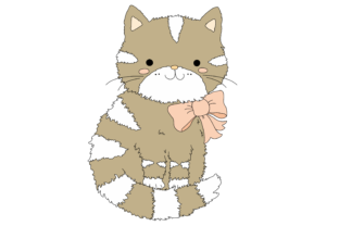 Cute Cartoon Cat with a Pink Bow Graphic By Jen Digital Art