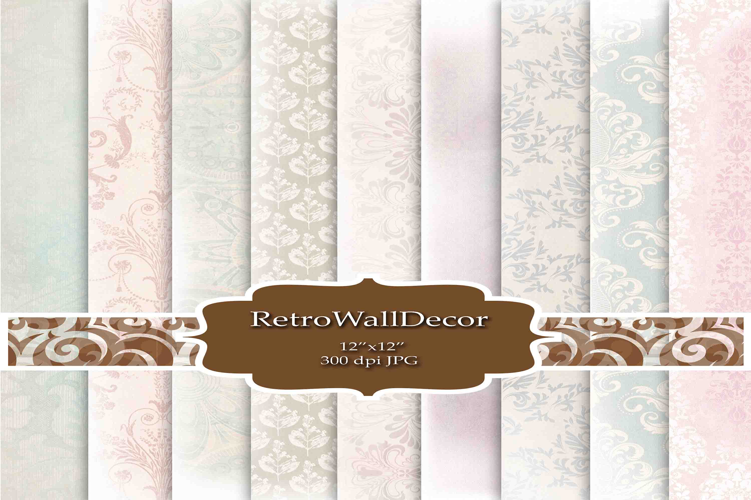 Download Free Damask Digital Paper Graphic By Retrowalldecor Creative Fabrica for Cricut Explore, Silhouette and other cutting machines.
