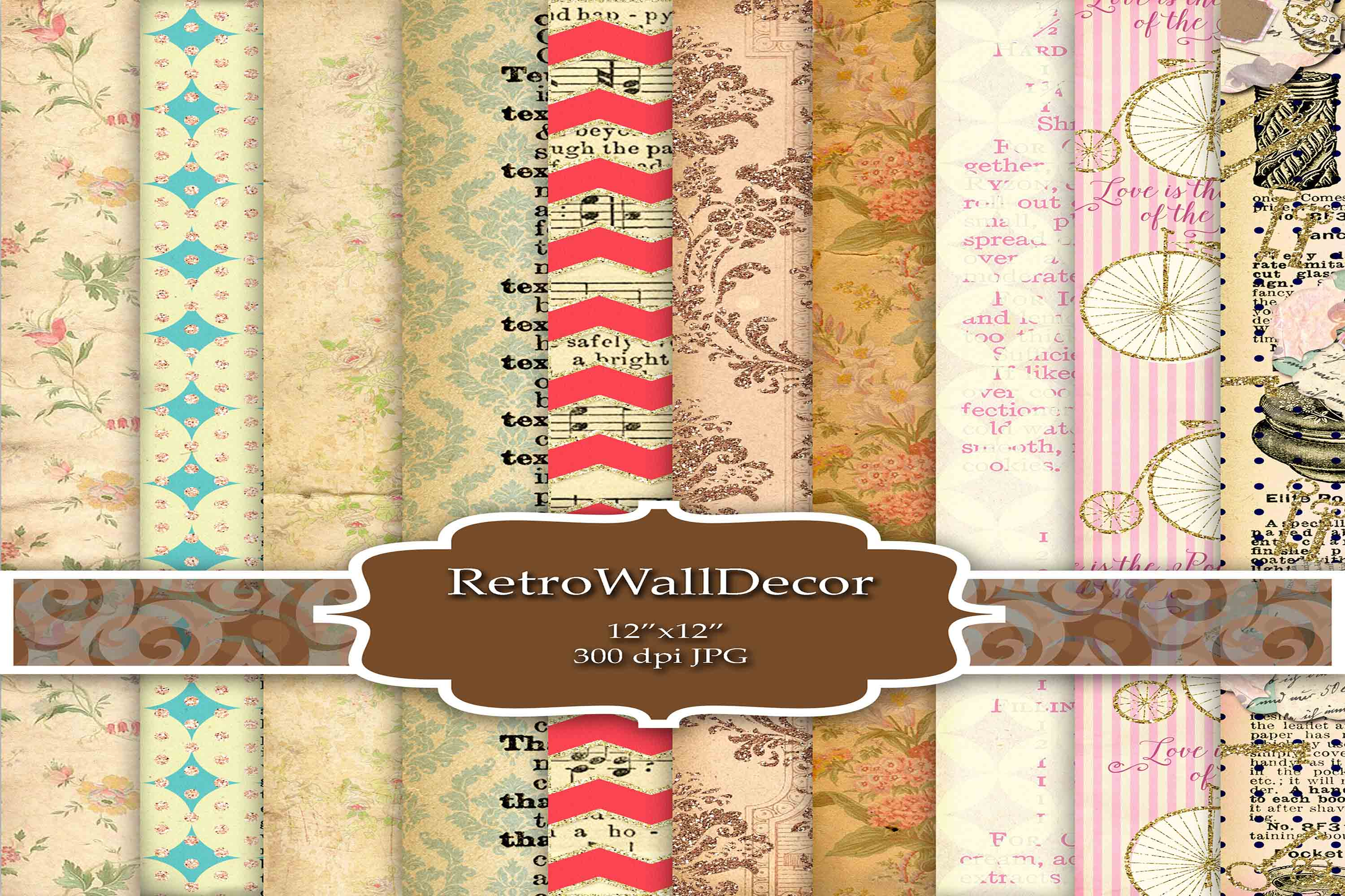 Download Free Decoupage Digital Papers Graphic By Retrowalldecor Creative for Cricut Explore, Silhouette and other cutting machines.