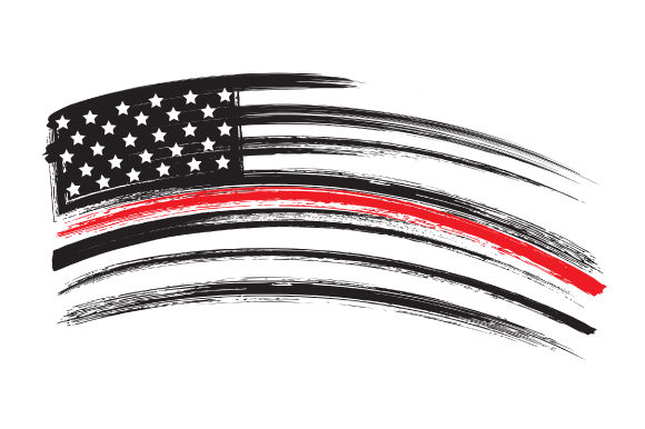 Distressed American Flag with Thin Red Line Fire & Police Craft Cut File By Creative Fabrica Crafts