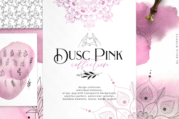 Dusc Pink Graphic Objects By BilberryCreate