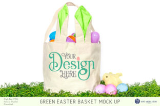 Easter Basket with Green Bunny Ears Mock Up Graphic Product Mockups By maemiddletonstudio
