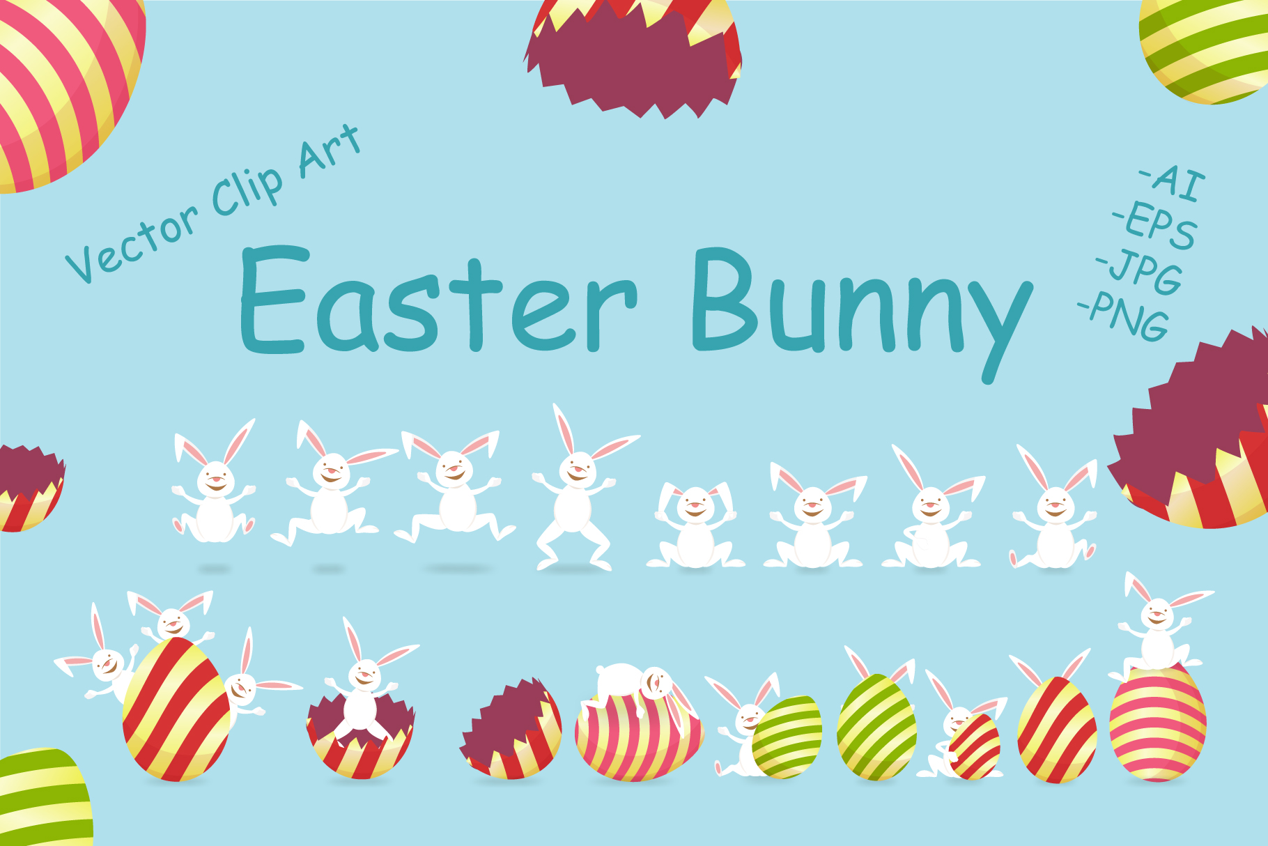 Download Free Easter Bunny And Egg Clip Art Graphic By Gennadii Art Creative for Cricut Explore, Silhouette and other cutting machines.