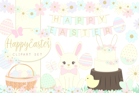 Download Free Easter Bunny And Eggs Clipart Set Graphic By Lilyuri0205 for Cricut Explore, Silhouette and other cutting machines.