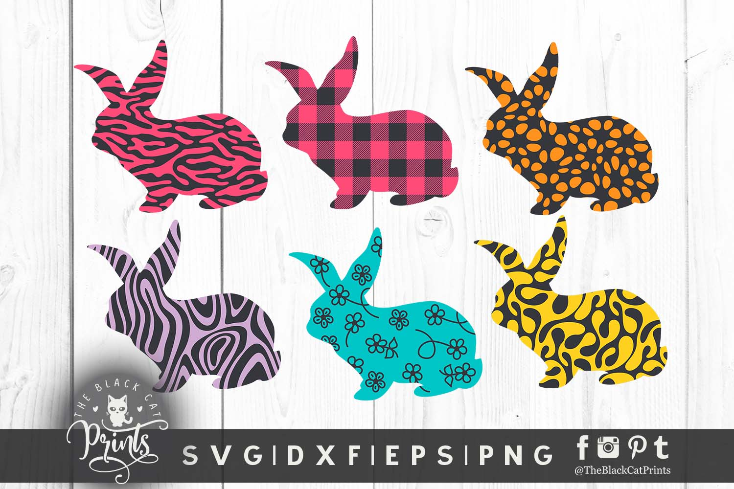 Download Free Easter Bunny Clipart Graphic By Theblackcatprints Creative Fabrica for Cricut Explore, Silhouette and other cutting machines.