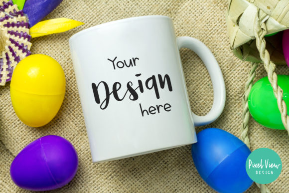 Print on Demand: Easter Mockup - White Coffee Mug Graphic Product Mockups By Pixel View Design - Image 1