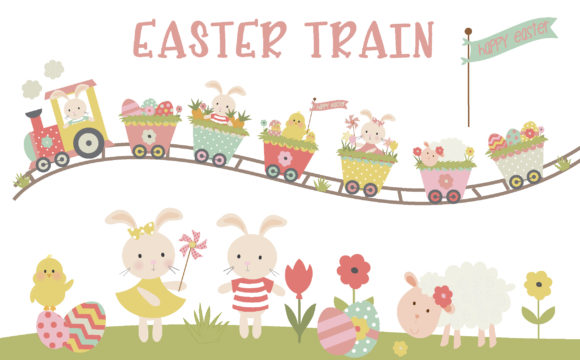 Print on Demand: Easter Train Graphic Illustrations By poppymoondesign