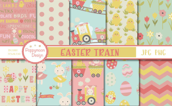 Download Free Easter Train Papers Graphic By Poppymoondesign Creative Fabrica for Cricut Explore, Silhouette and other cutting machines.