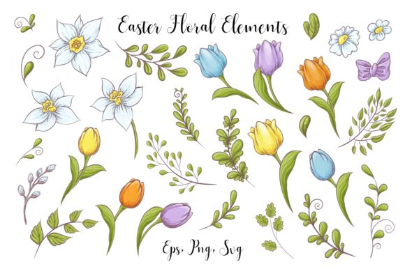 Print on Demand: Lovely Easter Vector Clip Art Graphic Illustrations By nicjulia - Image 2
