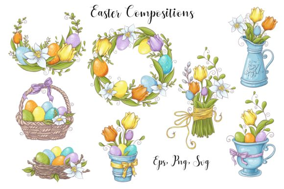 Print on Demand: Lovely Easter Vector Clip Art Graphic Illustrations By nicjulia - Image 3
