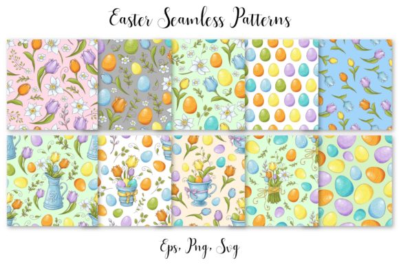 Print on Demand: Lovely Easter Vector Clip Art Graphic Illustrations By nicjulia - Image 5