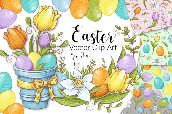 Print on Demand: Lovely Easter Vector Clip Art Graphic Illustrations By nicjulia