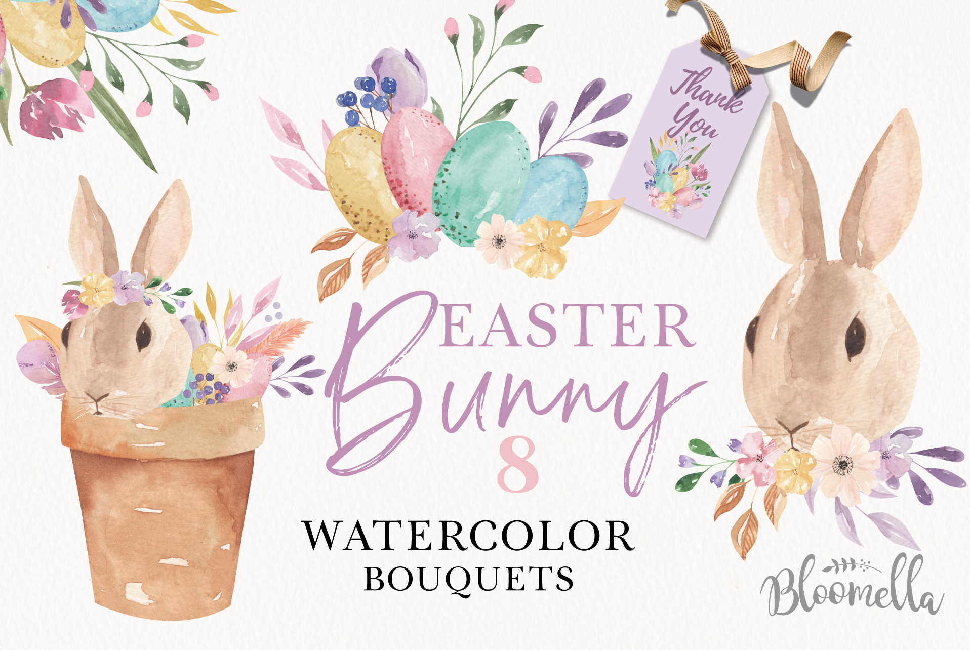 Download Free Easter Watercolor Bouquets Graphic By Bloomella Creative Fabrica for Cricut Explore, Silhouette and other cutting machines.