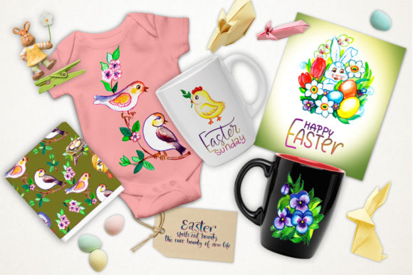Print on Demand: Easter Watercolor Set Graphic Illustrations By Red Ink - Image 5