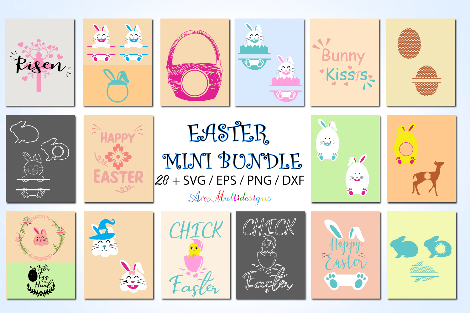 Download Free Easter Bundle Graphic By Arcs Multidesigns Creative Fabrica for Cricut Explore, Silhouette and other cutting machines.
