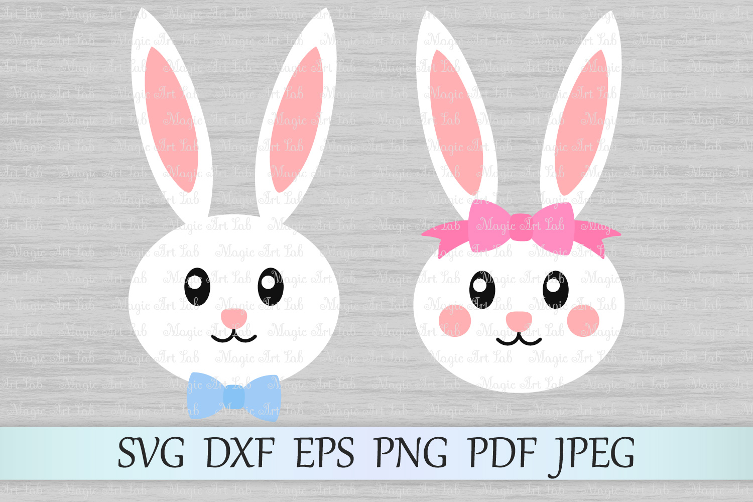 Download Free Easter Bunny Faces Svgs Grafico Por Magicartlab Creative Fabrica for Cricut Explore, Silhouette and other cutting machines.