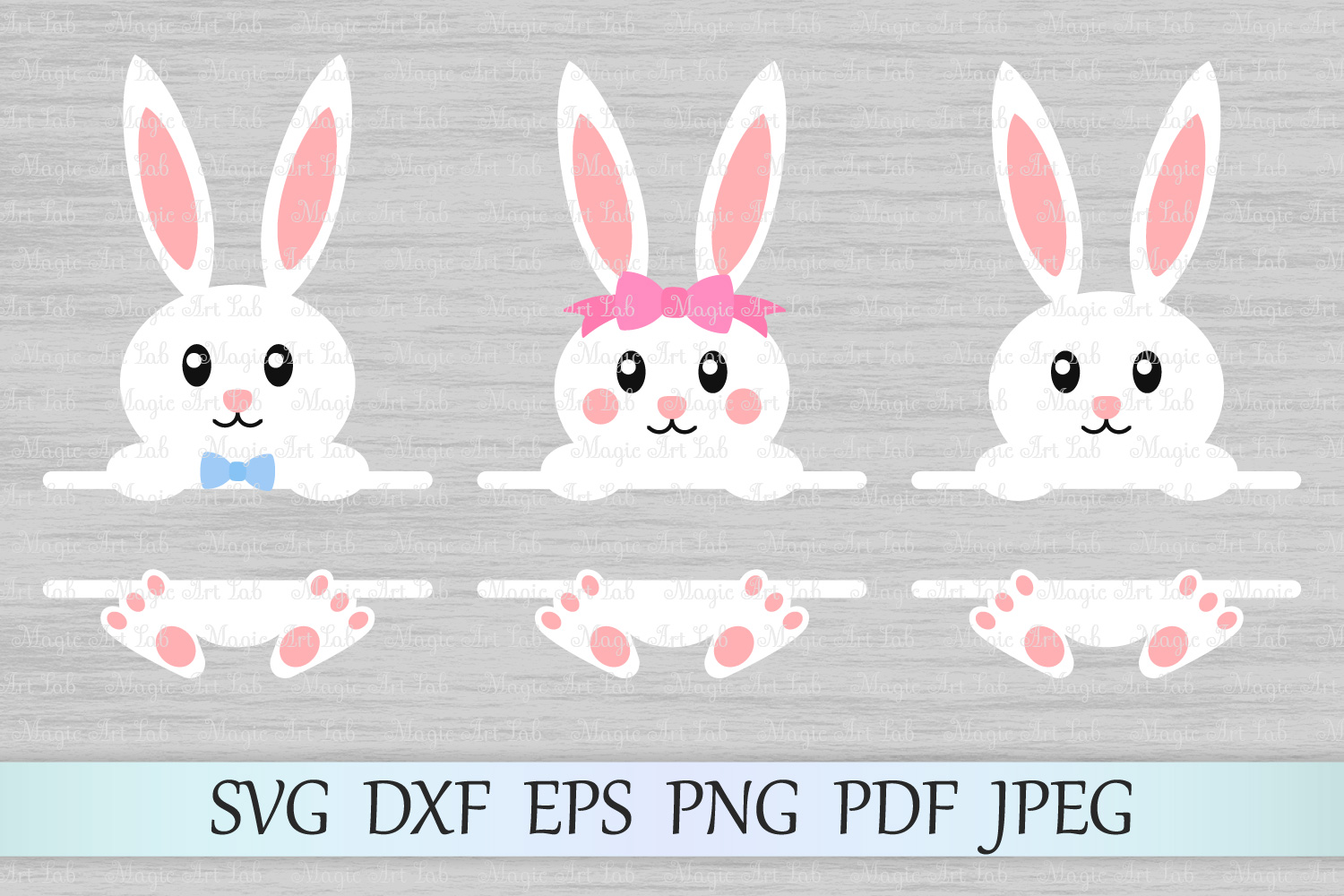 Download Free Easter Bunny Monograms Svgs Graphic By Magicartlab Creative for Cricut Explore, Silhouette and other cutting machines.