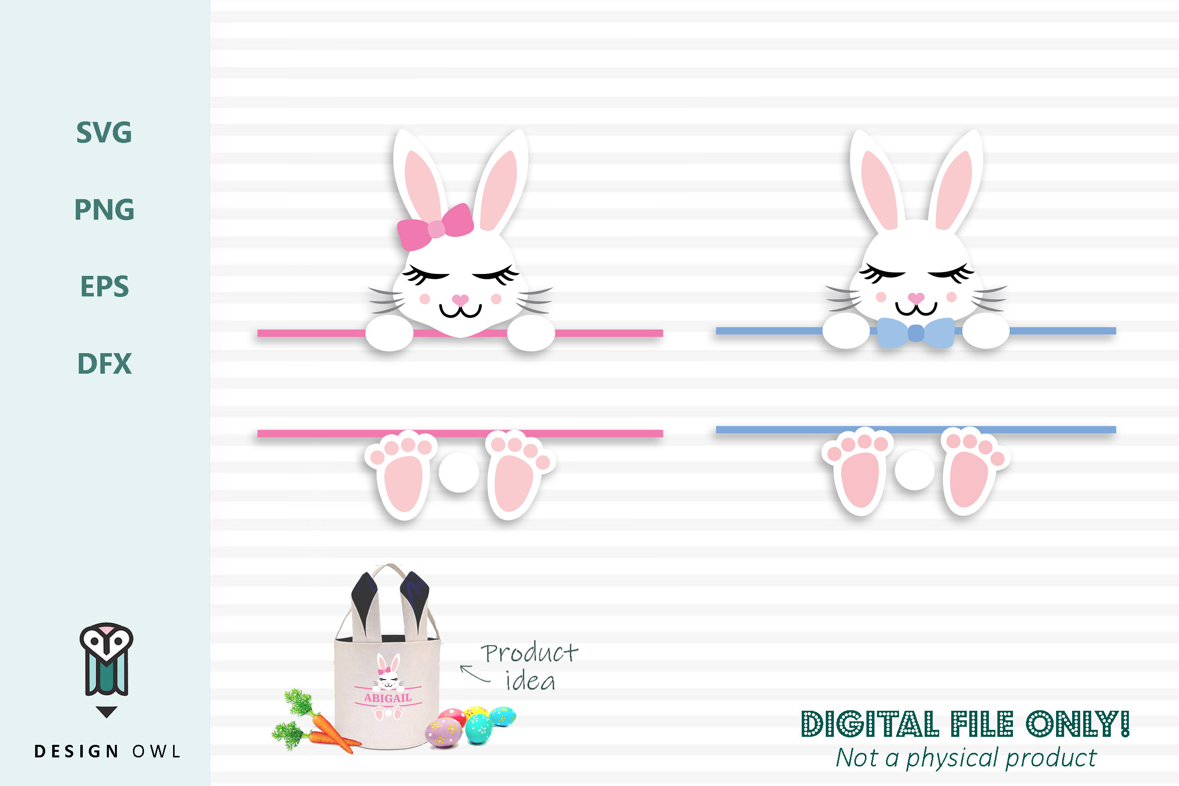 Download Free Easter Bunny Name Monogram Frame Svg File Graphic By Design for Cricut Explore, Silhouette and other cutting machines.