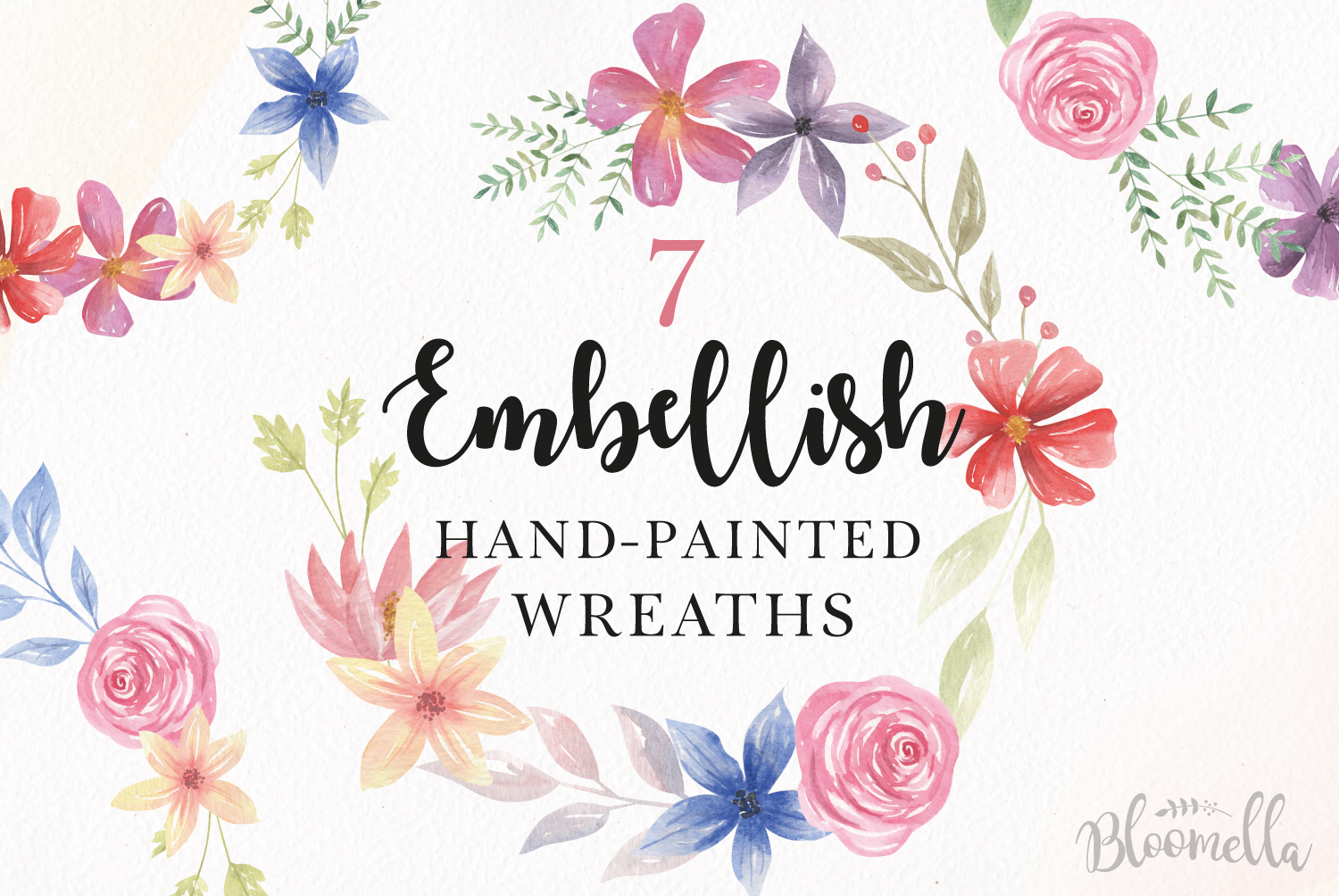 Download Free Embellish Floral Wreath Clipart Graphic By Bloomella Creative for Cricut Explore, Silhouette and other cutting machines.