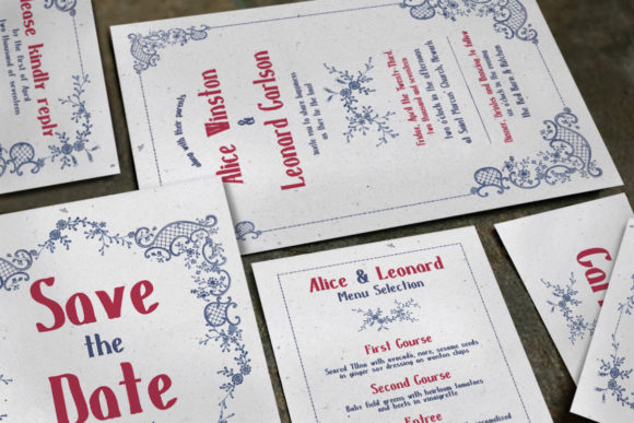 Download Free Embroidery Wedding Invitation Suite Graphic By Blue Robin Design for Cricut Explore, Silhouette and other cutting machines.