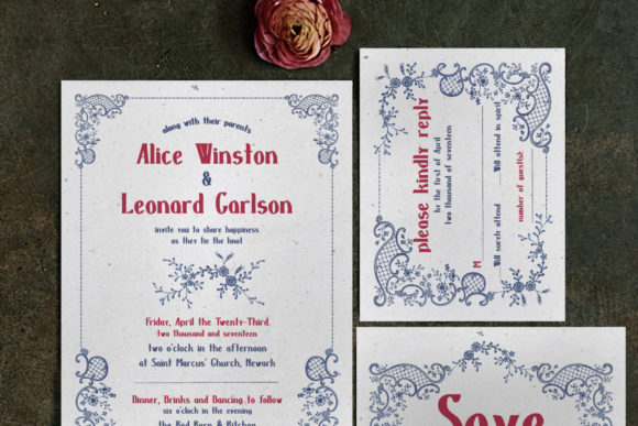 Print on Demand: Embroidery Wedding Invitation Suite Graphic Print Templates By Blue Robin Design Shop
