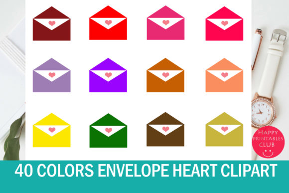 Print on Demand: Envelope with Heart Clipart Graphic Illustrations By Happy Printables Club
