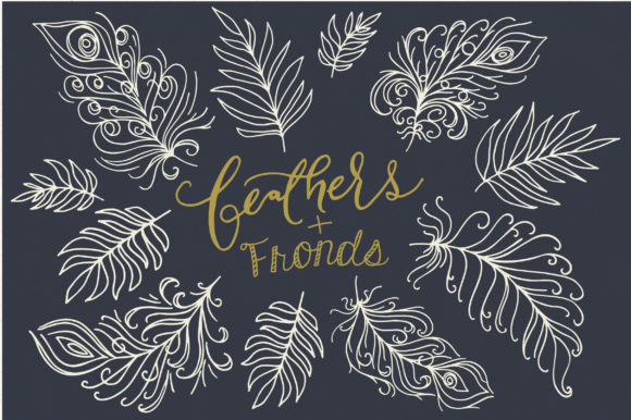 Fanciful Feathers and Fronds Clip Art Graphic Objects By The Pen and Brush