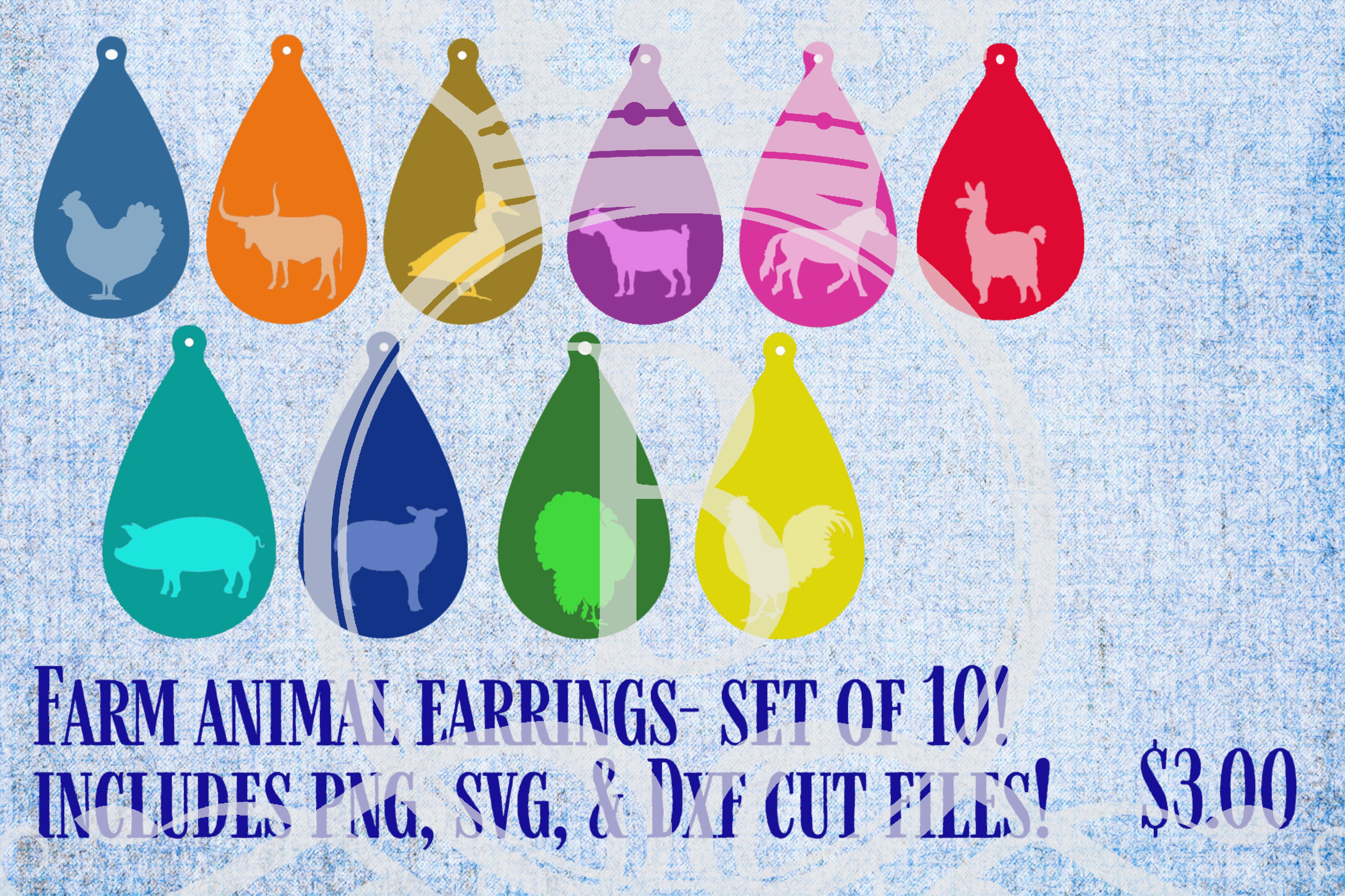 Download Free Farm Animal Earrings Graphic By Bellauniqueprintique Creative for Cricut Explore, Silhouette and other cutting machines.