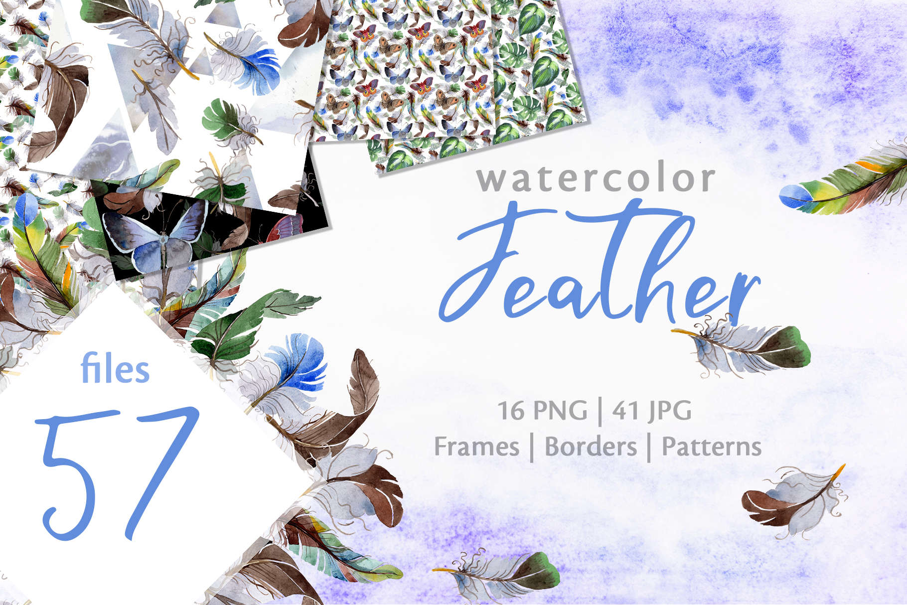 Download Free Feather Watercolor Graphic By Mystocks Creative Fabrica for Cricut Explore, Silhouette and other cutting machines.