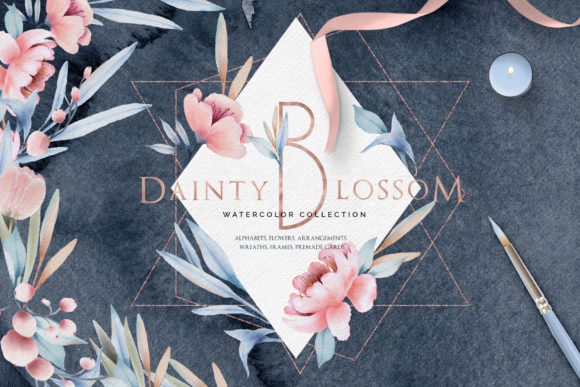 Print on Demand: Fine Art Watercolor Collection | Dainty Blossom Grafik Illustrationen von inkyjar