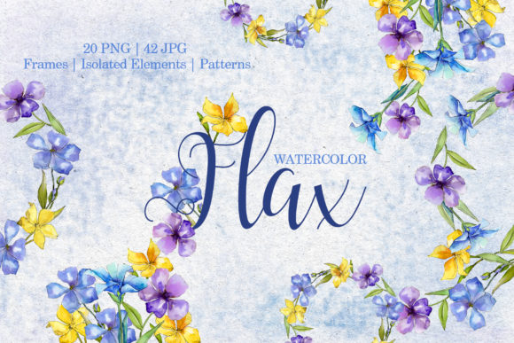Print on Demand: Flax Blue and Yellow Fowers Watercolor Png Graphic Illustrations By MyStocks