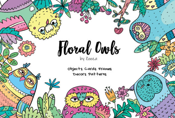 Print on Demand: Floral Owls - 55 Objects Graphic Illustrations By Zooza Art