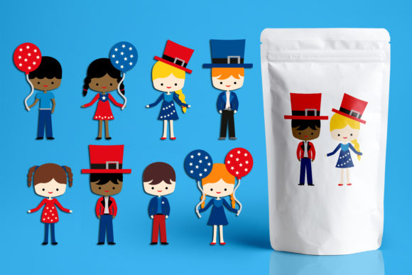 Print on Demand: Fourth of July American Kids Graphic Illustrations By Revidevi