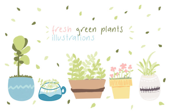 Fresh Green Plants Illustrations Graphic Illustrations By Widya Jung