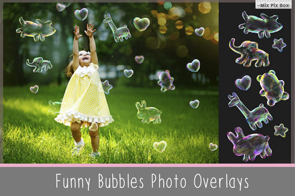 Print on Demand: Funny Animals Soap Bubbles Overlay Graphic Layer Styles By MixPixBox - Image 1